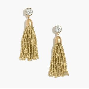 NWT J Crew Gold Beaded Tassel Earrings